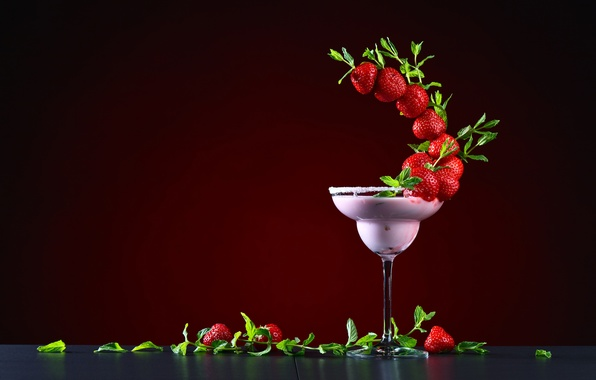 Picture leaves, design, glass, strawberry, berry, cocktail, red