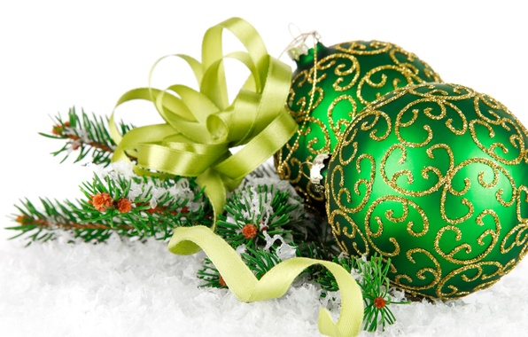 Picture snow, green, green, tree, bow, green, Christmas, Christmas balls, green balls, balls with ornament, Christmas …