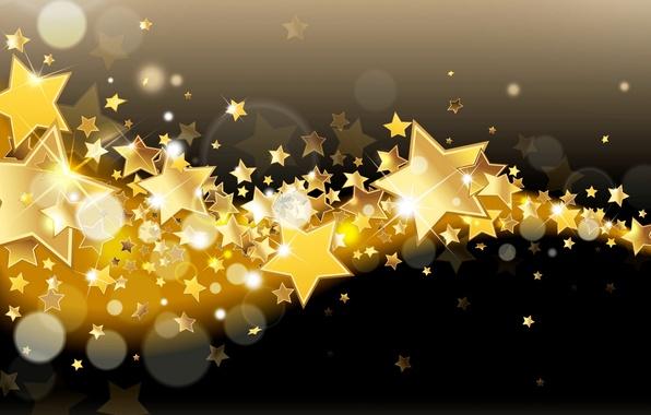 Picture stars, lights, background, gold, Shine, golden, glow, background, stars, sparkle, glitter