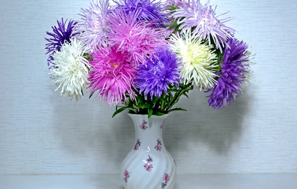 Picture flowers, background, vase, asters