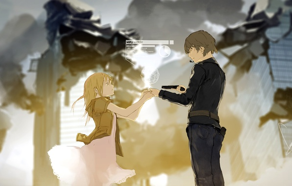 Picture girl, the city, weapons, smoke, home, anime, art, microphone, ruins, guy, loundraw