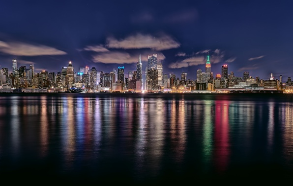 Picture the sky, water, clouds, night, the city, home, New York, backlight, USA, New York
