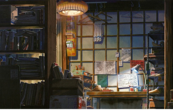 Wallpaper room magazines makoto shinkai table kotonoha for Dining room 640x1136