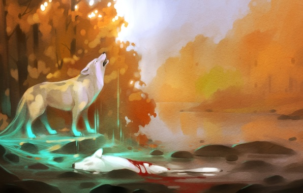 Picture forest, water, trees, river, death, stones, blood, wolf, art