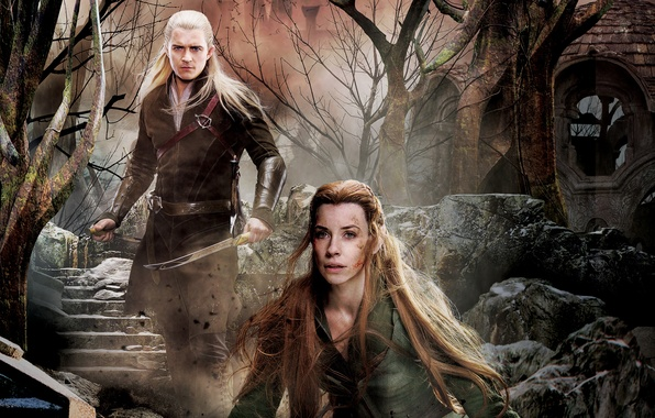 Photo Wallpaper Collage Fantasy Elves Evangeline Lilly Poster Orlando Bloom