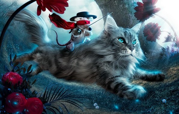 Picture cat, flowers, kitty, fantasy, toy, fly