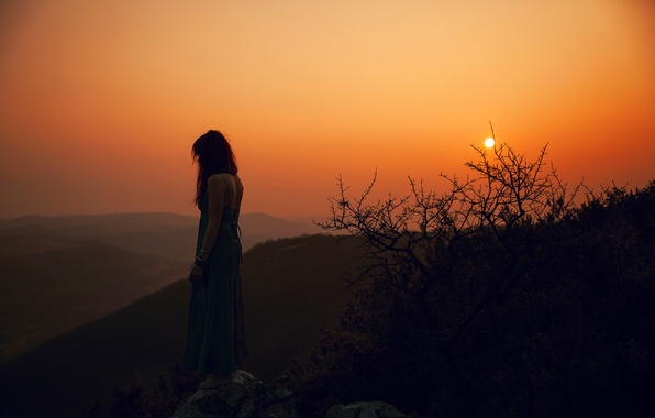 Picture girl, sunset, rock, dal, haze, redhead, Lorène