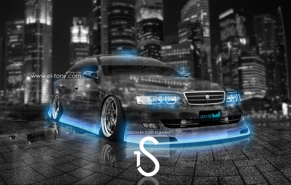 Picture City, Toyota, Blue, Photoshop, Neon, Toyota, Chaser, Chayzer, Crystal, el Tony Cars, Tourer V