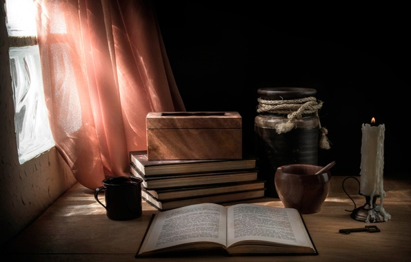 Picture table, candle, window, book, pitcher, mortar