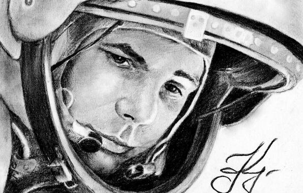 Picture figure, astronaut, the suit, hero, legend, pilot, Yuri Gagarin