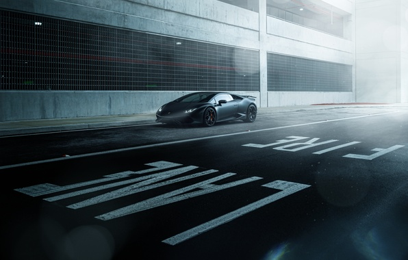 Picture Lamborghini, Dark, Front, Black, Color, Road, Supercar, Wheels, Huracan, LP610-4