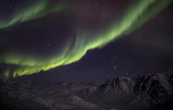 Picture winter, stars, snow, mountains, night, Northern lights, green, Aurora Borealis
