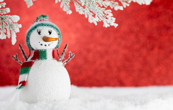 Picture winter, snow, New Year, Christmas, snowman, Christmas, winter, snow, Xmas, decoration, Merry