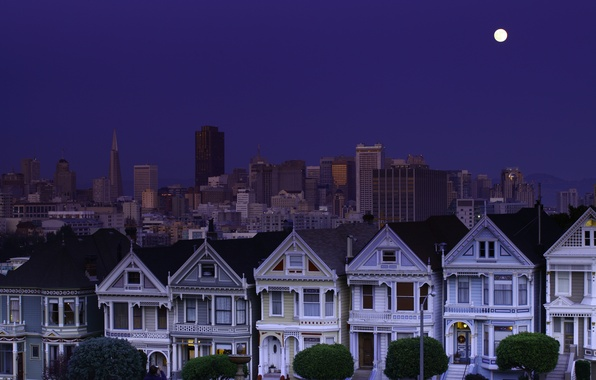 Picture the sky, night, the moon, San Francisco, moon, USA, USA, blue, sky, night, California, San …