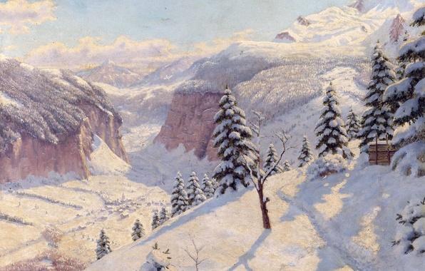 Picture winter, snow, trees, landscape, mountains, tree, picture, the snow, path, Boris Bessonov