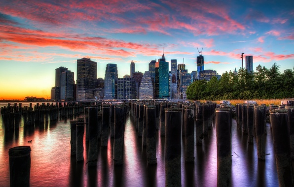 Picture sunset, the city, New York
