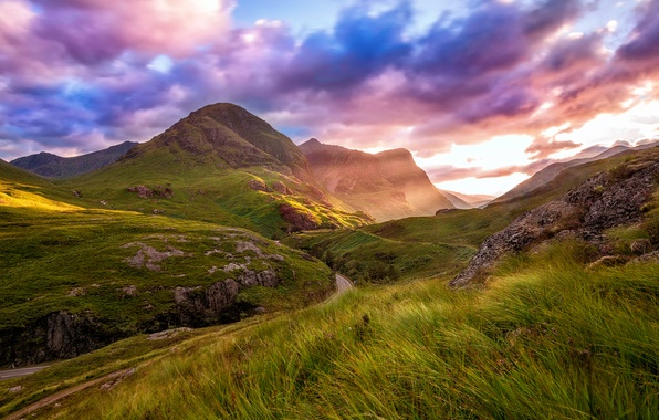 Picture road, summer, the sky, clouds, mountains, valley, Scotland, August, Highland, Glencoe