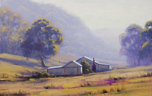 Picture grass, trees, landscape, house, hills, the fence, art, building, artsaus