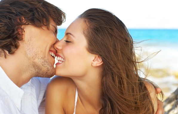 Picture summer, love, romance, tenderness, Girl, kiss, pair, guy, lovers, he and she
