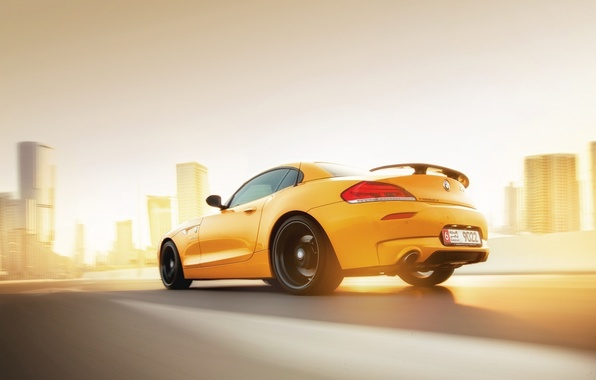 Picture BMW, Car, Speed, Sunset, Yellow, Rear, Abudhabi