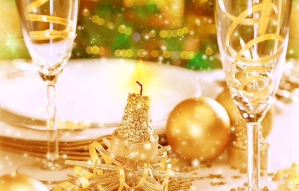 Picture background, holiday, Wallpaper, glass, new year, Christmas, blur, sequins, plates, wallpaper, new year, feast, widescreen, …