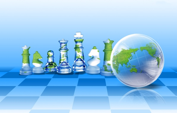 Picture collage, ball, chess, Earth, cells