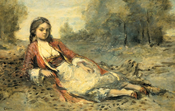 Picture landscape, picture, Jean Baptiste Camille Corot, Algerian Girl