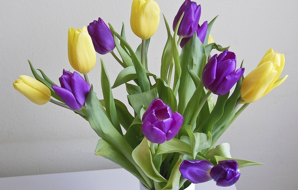Picture bouquet, yellow, tulips, vase, lilac