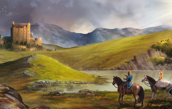 Picture girl, landscape, lake, castle, hills, horses, art, guy, walk, riders