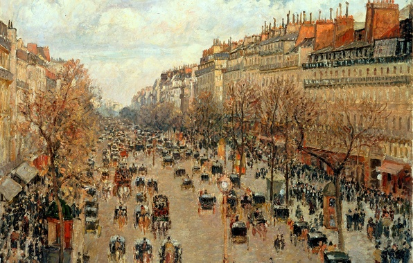 Picture the city, street, France, picture, Camille Pissarro, Boulevard Montmartre in Paris