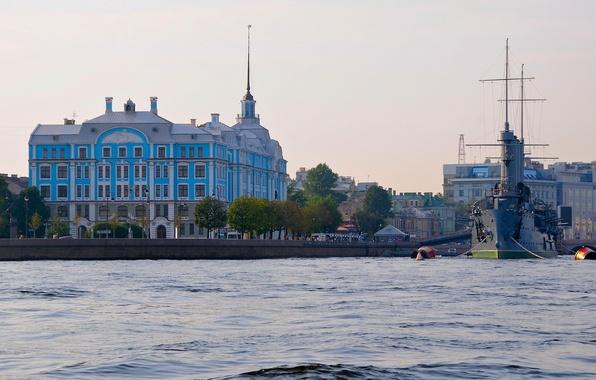 Picture river, the building, Saint Petersburg, Aurora, Russia, Museum, promenade, cruiser, Petrogradskaya embankment, Nakhimov naval school, …