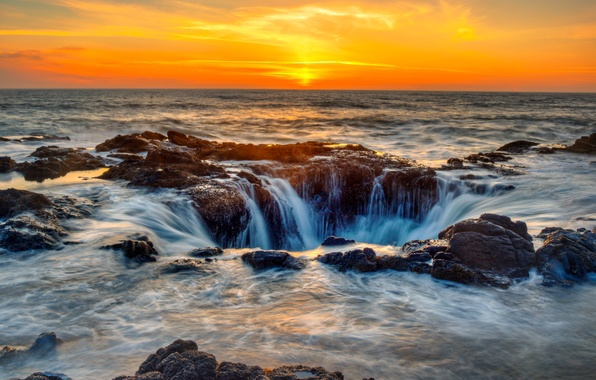 Picture sea, the sky, sunset, stones, coast, horizon, surf, USA, Oregon