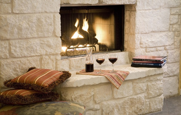 Photo wallpaper pillow, books, glasses, romance, wine, fireplace