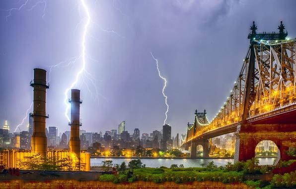Picture the storm, night, lights, lightning, New York, USA