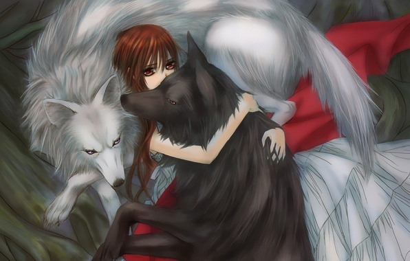 Picture girl, wolves, hugs, vampire knight, yuuki cross, knight-vampire