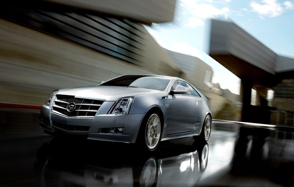 Picture road, auto, the city, Cadillac, speed, CTS, Sport Sedan