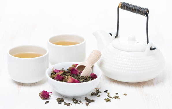 Picture white, tea, roses, kettle, Cup, drink