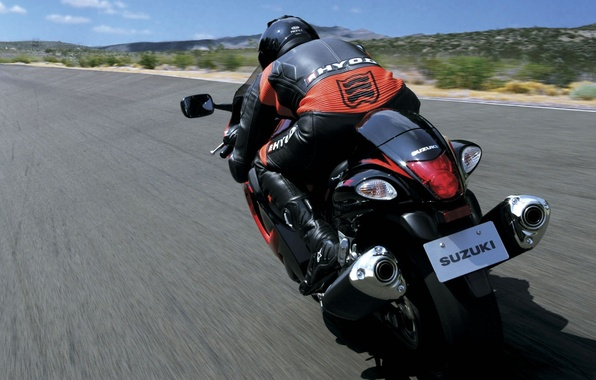 Picture view, speed, track, back, suzuki, sportbike