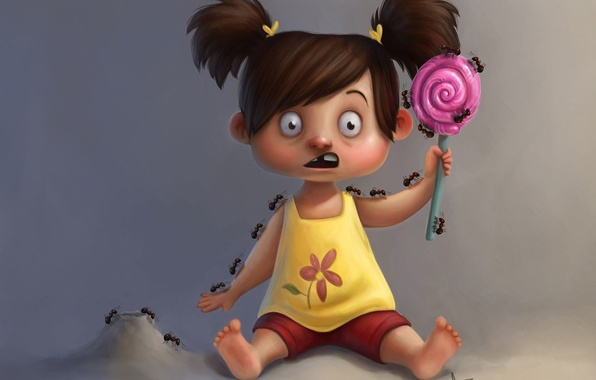 Picture fear, ants, art, girl, Lollipop, horror, candy, danepioli