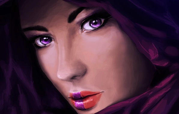 Picture eyes, look, girl, face, art, lips, hood, painting, closeup