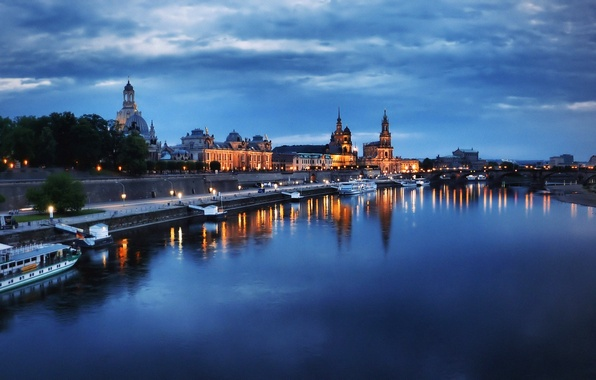 Picture the sky, clouds, trees, lights, river, home, the evening, Germany, Dresden, Elba