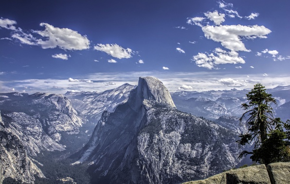 Picture the sky, clouds, snow, mountains, tree, rocks, valley, CA, USA, Yosemite National Park