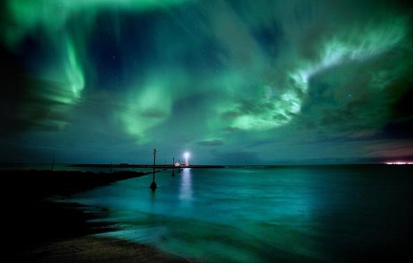 Picture lights, lighthouse, lights, Aurora Borealis