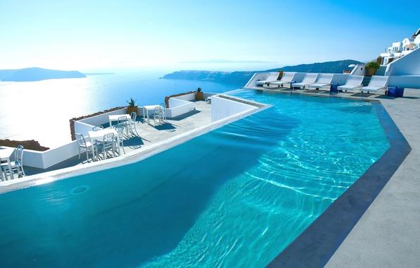 Picture sea, pool, Santorini, Greece, the hotel