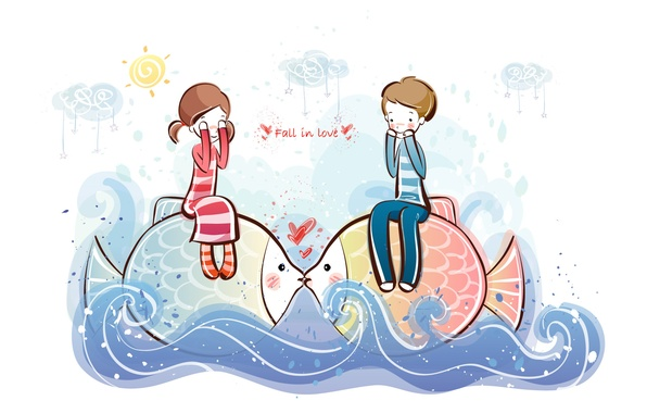 Picture wave, water, fish, figure, boy, girl, love