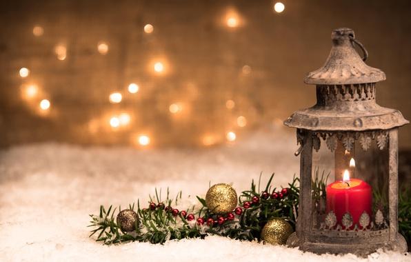 Picture balls, candle, branch, Christmas, lantern, New year, bokeh