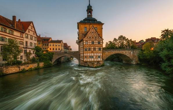 Picture bridge, river, building, Germany, Bayern, promenade, Germany, Bamberg, Bavaria, the river Regnitz, Bamberg, Old town …
