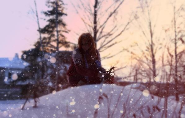 Picture winter, girl, Bush, Snow, red