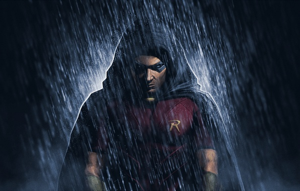 Wallpaper Robin, DC Comics, Red Robin, rain, Tim Drake ...