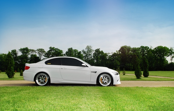 Picture white, the sky, clouds, bmw, BMW, profile, white, wheels, drives, bbs, e92, BBC